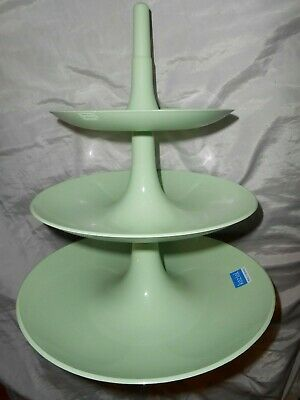 New Koziol Etagere Babell L 31.4 cm Large 3 Tier Matt Green Fruit Serving Stand