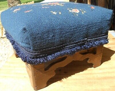 Antique Victorian Americana Chippendale Foot Blue Needlework Stool