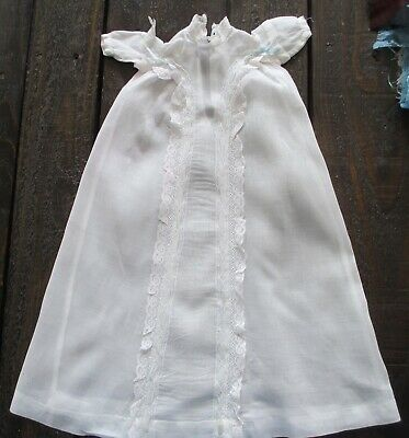 Vintage Hand Stitched Doll's Christening Gown Fine Cotton Fabric, Early 1900's