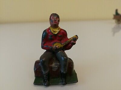 """Crescent  rare """" Cowboy with banjo """" vintage toy lead  Figures  . not Johillco"""