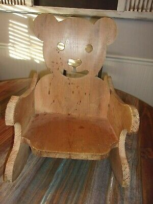 vintage childs handmade carved solid oak  teddy bear rocking chair-Rare