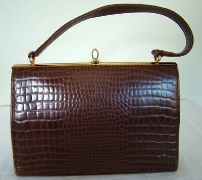 Vintage 50s 60s Maclaren brown leather mock croc structured kelly handbag bag