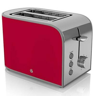 Swan ST17020RN Retro 2 Slice Toaster 800W Red Vintage Style 2 Year Guarantee