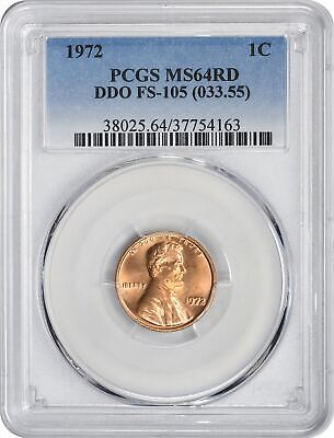 1972-P Lincoln Cent MS64RD PCGS DDO FS-105 Double Die Obverse Cherrypicker
