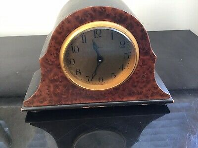 Vintage Small Mantle Clock Walnut &  Ebonised Wood Brass Bezel