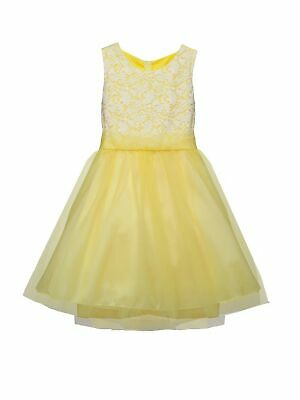 ff6601ae8cd Kids Dream Big Girls Yellow Lace Plus Size Junior Bridesmaid Dress 16.5