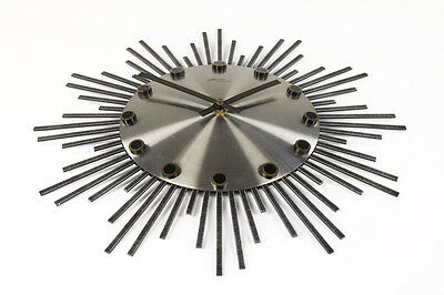 Wand Uhr Atlanta Electric Junghans Werk Vintage Sunburst Wall Clock 60er 70er