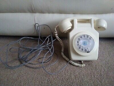 Vintage GPO Wall Mounted 741 Rotary Dial Telephone In Cream c 1980