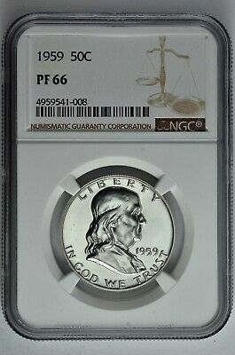 1959 50c Silver Proof Franklin Half Dollar NGC PF 66
