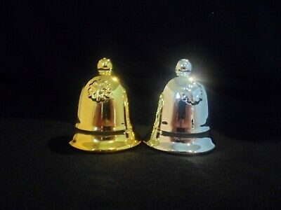 Christmas Ornamental Bells - Lot of 2 - one silver and one gold painted