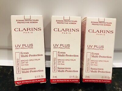 3x CLARINS UV PLUS Anti-Pollution Ecran Multi-Protection SPF 50 Sunscreen 9 ml