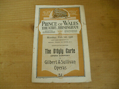 Prince of Wales Theatre Programme 1926 - The Gondoliers - Gilbert & Sullivan