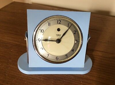 Art Deco Blue Bakelite Temco Electric Mantle/Bedside/Table Clock ~ WORKING.
