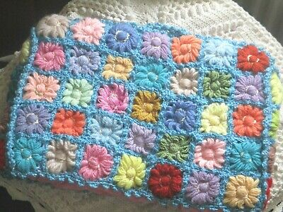 Vintage TEA COSY Knitted COVER Crochet Granny Squares PINK Satin Lining