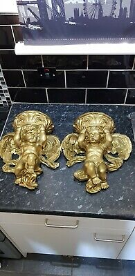 ATTRACTIVE PAIR OF GOLD ,Gilded Cherub Wall hanging sconces 30cm W x 33cm H