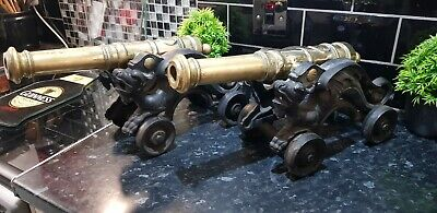 Rare ,victorian Pair Of Starter Cannons , Solid And Heavy,wrought Iron & Brass