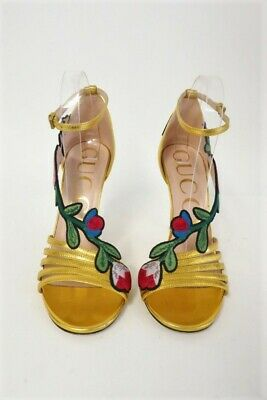 88f1d0c07 Gucci Ophelia 105 Sandal Floral Embroidered Metallic Gold Leather Heel Size  37