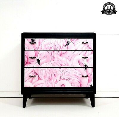 Stunning Professionally Upcycled Mid Century Chest of Drawers Flamingo Decoupage