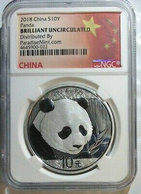2018 China  Silver Panda 10 Yuan  ~  Brilliant Uncirculated