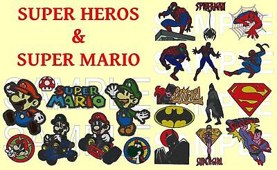 2 In 1 Super Heroes And Super Mario, Pes Embroidery Machine Designs Cd