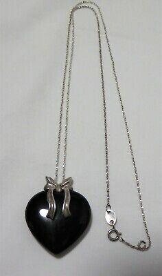 "Beautiful 925 Sterling Silver Necklace & 1.5"" Black Stone Or Glass Heart Pendant"