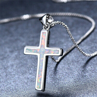 Women Silver Plated Religious Cross white Turquoise Fire Opal Pendant Necklace