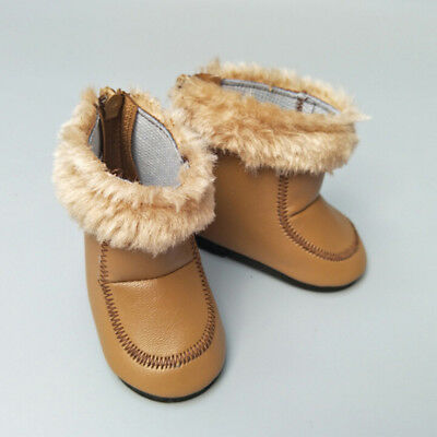 1 Pair doll winter brown boots shoes for 43cm doll and 18 inch dolls gift  Kf