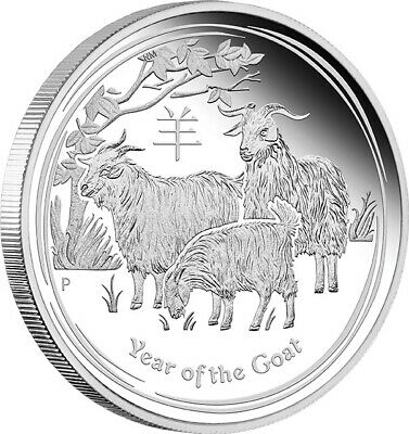 2015 YEAR OF THE GOAT GILDED LUNAR 1oz Silver Coin With Presentation Case & COA