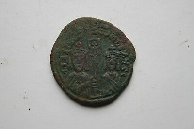 ANCIENT BYZANTINE BASIL I BRONZE FOLLIS COIN 9th CENTURY AD