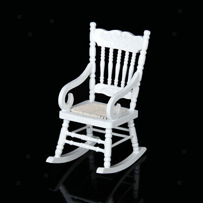 Miniature Wood Rocking Chair Furniture Model for 1/12 Scale Dollhouse White