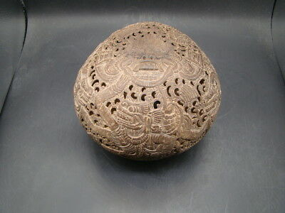 Chinese 18th century rare and nice big coconut carved 7 figures t2953
