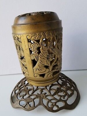 Vintage Brass Incense Candle  Holder Carved Ornate Asian