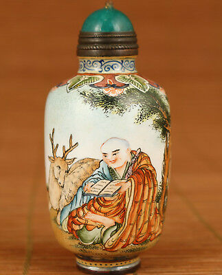 Antique Old cloisonne Collection buddha deer figure statue snuff bottle