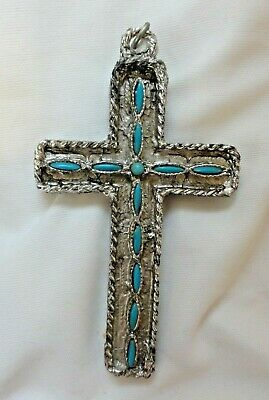 Vintage Cross Pendant With Faux Turquoise inlaids Silver Tone Metal