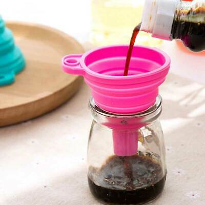 Fashion Silicone Gel Foldable Collapsable Funnel Hopper Kitchen Cooking Tool