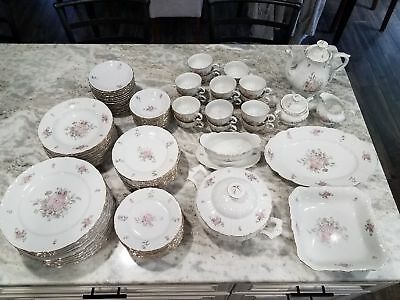 HEINRICH & CO SELB BAVARIA CHINA 12 PIECE PLACE SETTING with SERVING PIECES
