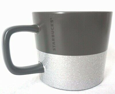 Starbucks 2018 Charcoal Gray glitter Stars Coffee Mug Cup 12oz. EUC!!