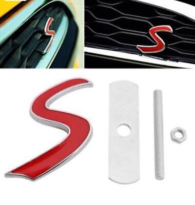 Mini Cooper S Logo Grill Front 3D Emblem Badge Red For Cooper S Jsw Car