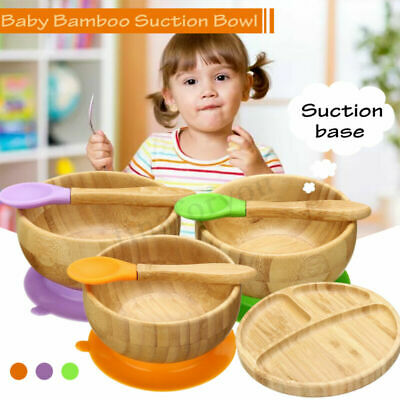 Baby Bamboo Suction Bowl and Matching Spoon Set, Stay Put Suction Feeding Bowl