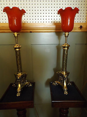 Large Stunning Pair Of Dutch Style Table Lamps With Glass Shades