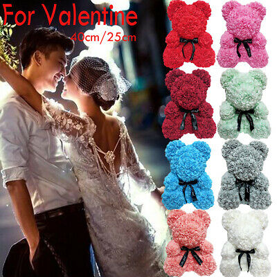 USA Love Teddy Bear Rose Box Foam Flower Wedding Birthday Valentine's Day Gifts