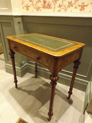 1860 Burr Walnut Ladies Writting Table Easel Top Satinwood Inlay