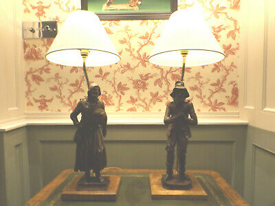 Hand Carved French Breton Peasant Wooden Figures Table Lamps