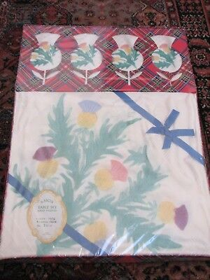"Vintage Scottish Thstle Tablecloth 52"" x 52 & 4 Napkins Boxed Unused"