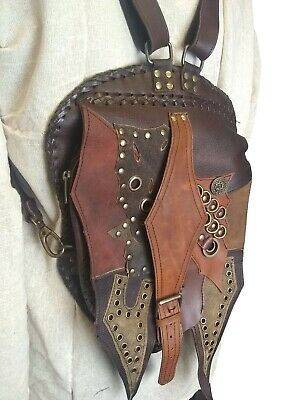 LARP Medieval Reenactment Luxurious Brown Leather Backpack Shoulder Bag