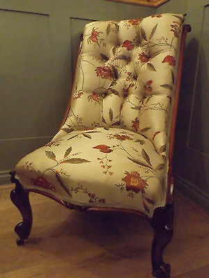 Victorian Slipper Chair Restored & Upholstered In Machine Embroidered Fabric