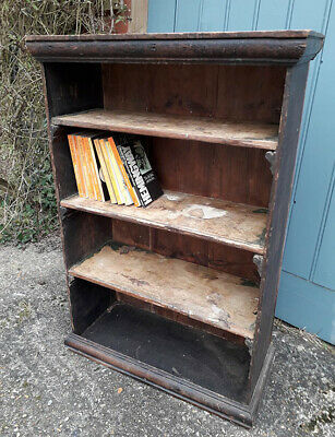 Antique Rustic Country Pine Wooden Bookcase Shelves for renovation