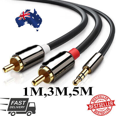 NEW Premium Gold Plated Stereo Audio 3.5mm Aux Jack to 2 RCA Cable HGO AUS SLR