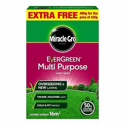 Miracle-Gro Evergreen Multi Purpose Lawn Seed 480g Covers 16m2 Grass Garden Home