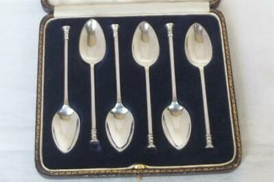 A Superb Case Set Of Six Solid Silver Seal End Tea / Coffee Spoon Sheffield 1923